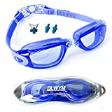 OLWYM Swim Goggles, Adult Clear Swimming Goggles for Women Men Kids Boys Girls - No Leak Anti Fog UV Protection Triathlon Swim Goggles with Free Goggle Case Nose Cover Ear Plugs Clear Vision (Blue)