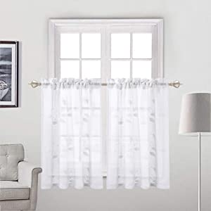 "Haperlare Embroidered Sheer Tier Curtains, Leaves Pattern Matched Ribbon Embroidery Short Window Curtain, Rod Pockrt Floral Half Window Voile Kitchen Cafe Curtains, 26"" x 24"", White, Set of 2"