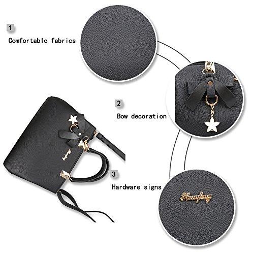 Leather Handbags Shoulder Bags Handbag Magic Zone Fashion Black Bags Tote Women for Ladies PU Messenger zwqU8wxI