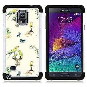 """Pulsar ( Aves primavera papel pintado de la vendimia"""" ) Samsung Galaxy Note 4 IV / SM-N910 SM-N910 híbrida Heavy Duty Impact pesado deber de protección a los choques caso Carcasa de parachoques [Ne"""