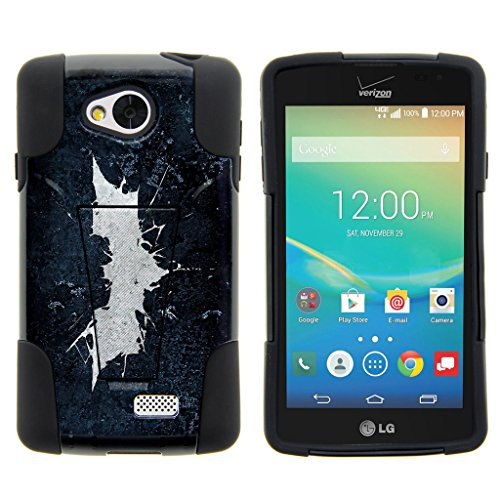TurtleArmor | Compatible with LG Tribute Case | LG Optimus F60 Case | LG Transpyre Case [Gel Max] Hybrid Dual Layer Hard Shell Kickstand Silicone Case - Bat Signal