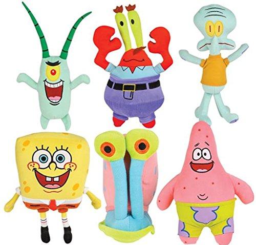 (LOT OF 6 - Spongebob Character Licensed Plush Toys12.5