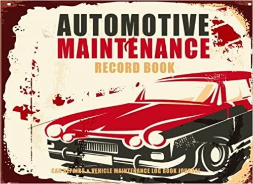 amazon automotive maintenance record book retro sign design car