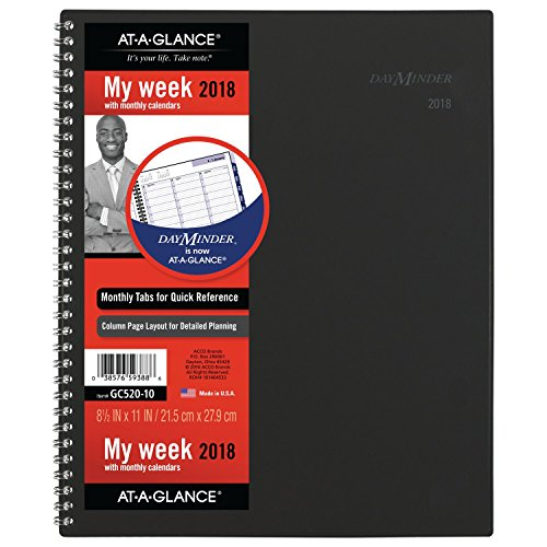 "AT-A-GLANCE DayMinder Weekly / Monthly Appt Book / Planner, January 2018 - December 2018, 8-1/2"" x 11"", Color Will Vary (GC52010)"