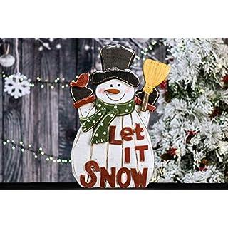 Wooden Snowman Let It Snow