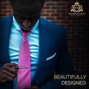 Tie Clip Gift Set By TMB Innovations | Men's Luxury 8pc Tie Clip Gift Set, Stainless Steel Tie Clips, Variety Set - Quality Black Gift Box