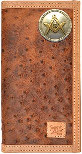 Custom Tony Lama Masonic Square and Compasses Ostrich Print Leather Wallet