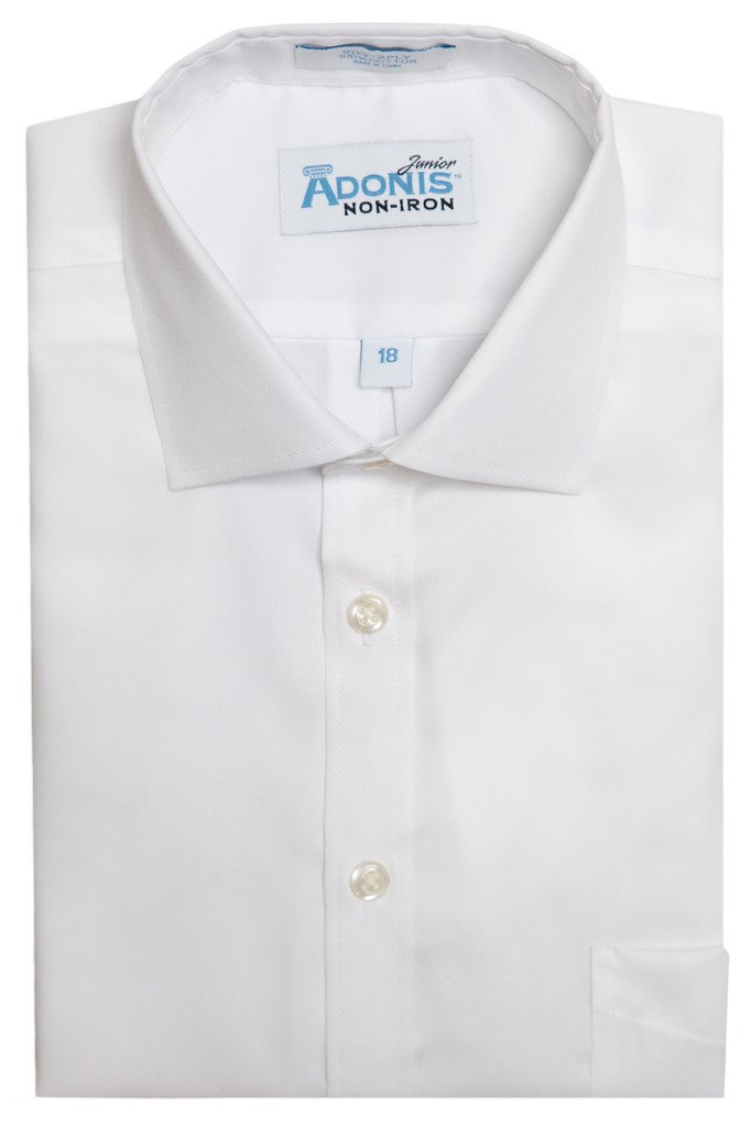 Boys 100% Cotton Non-Iron White Pinpoint Barrel Cuff Dress Shirt