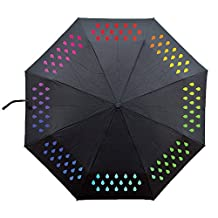 Ai-life Magic Water Activated Color Changing Umbrella Rain Drop Pattern, Portable Lightweight Foldable Windproof Anti-UV Umbrella Parasol for Beach Camping Travel