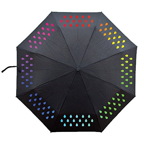 iPlanner Color Changing Umbrella, Portable 3-Fold Rain Drop Colorful Travel Compact Umbrella, Printed UV Coating Change Color Umbrella When Wet