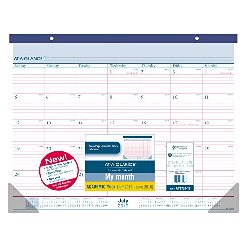 AT-A-GLANCE Monthly Desk Pad and Wall Calendar, Academic Year, 12 Months, July 2015-June 2016, 21.75 x 15.5 Inch Page Size (AYST24-17)