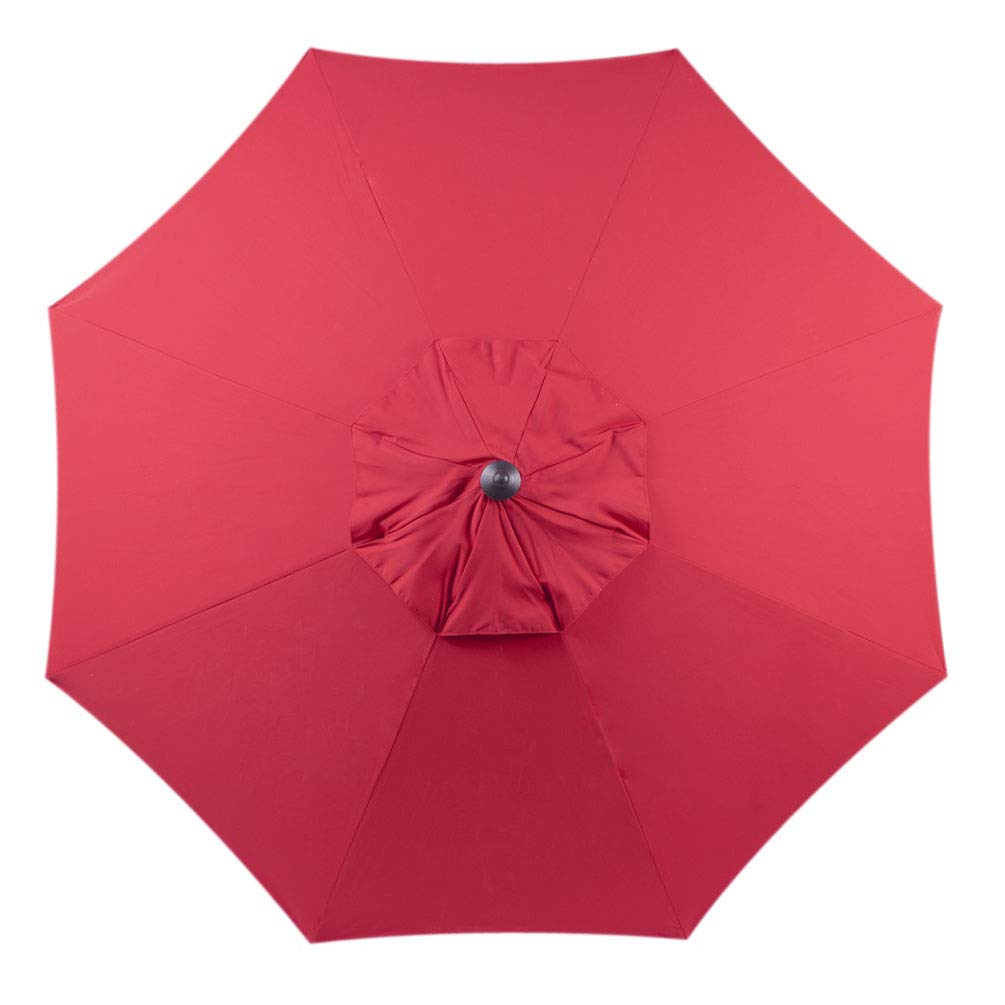 Bayside-21 9 ft Patio Umbrella Replacement Market Table Outdoor Umbrella Canopy Umbrella Top Only Fit for 9 feet 8 Ribs Polyester Red