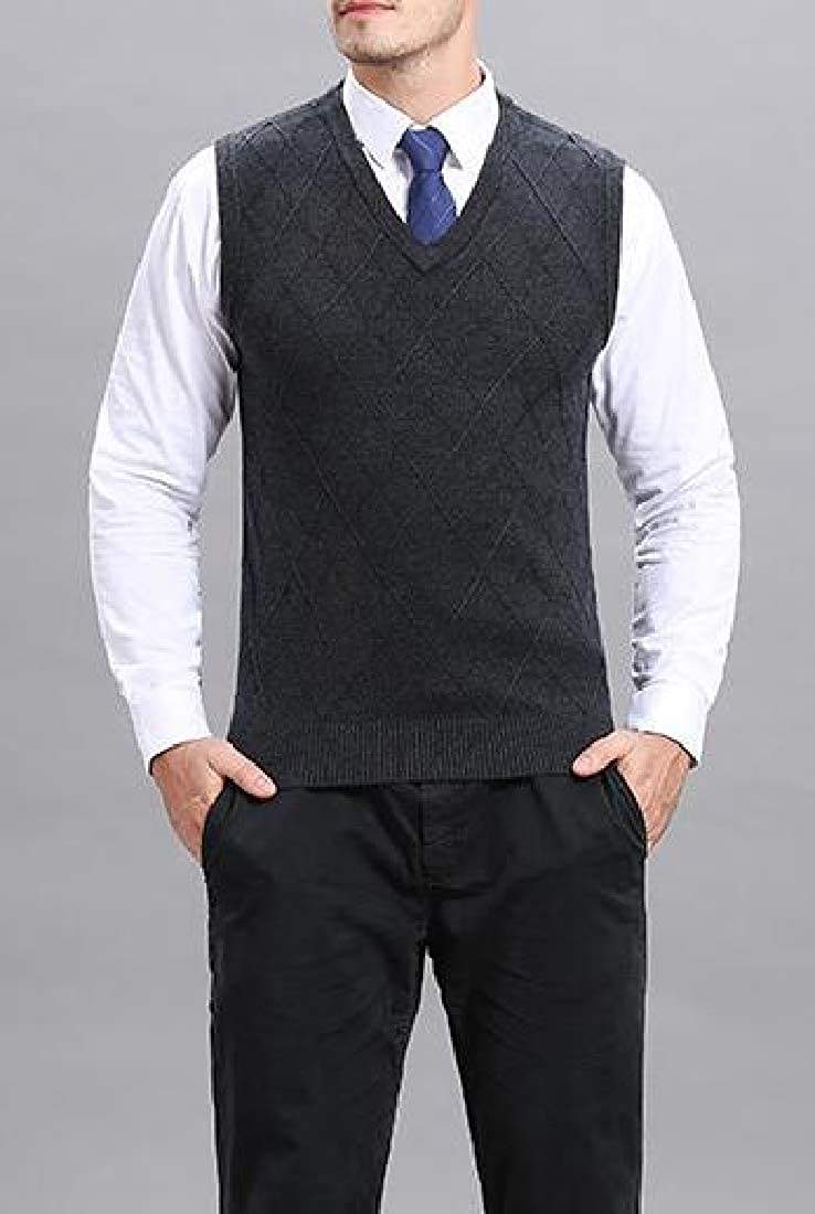 Qiangjinjiu Men Solid Color Plain Sweater Vest High Neck Casual Pullover Vest