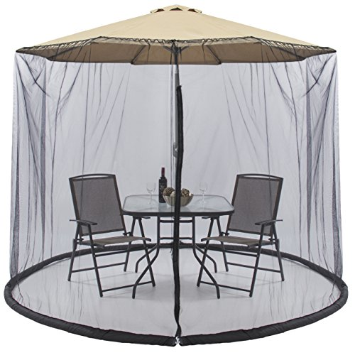 Best Choice Products Outdoor 9 Foot Patio Umbrella Screen- Black