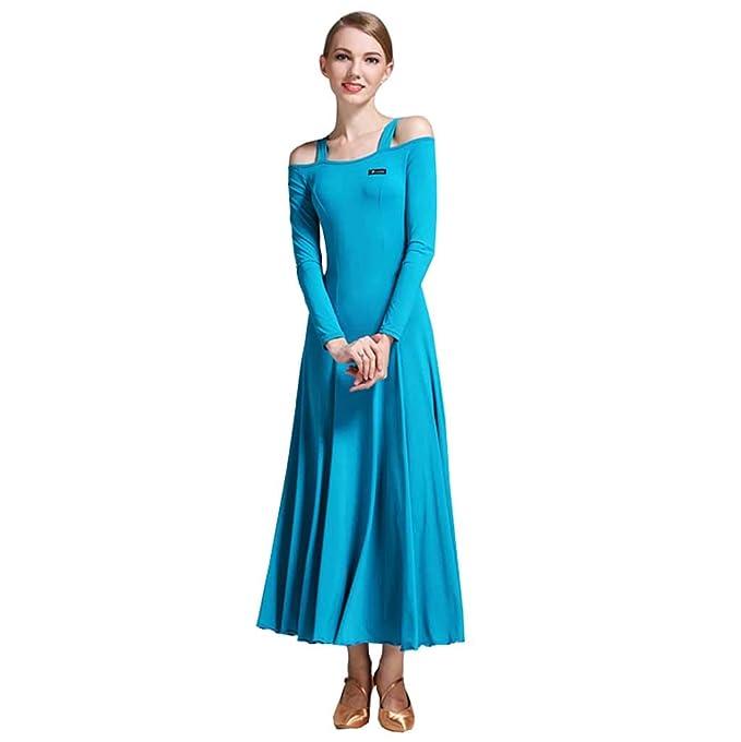 e0dbbdcdcc27f YTS Adult Modern Dance Dress, Four Seasons Peacock Blue Nylon Dress (Color  : Peacock