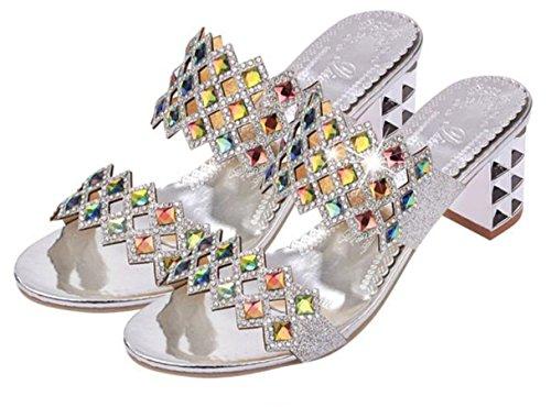 Talloni delle donne YCMDM Estate Slingback PU glitter casual tacco grosso Sparkling Walking Glitter Silver Gold , silver , us5.5 / eu36 / uk3.5 / cn35