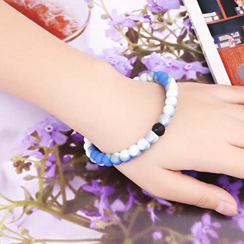 2 Pcs Bracelets Silicone Charm Bracelets Lovers Bangle for Men Women