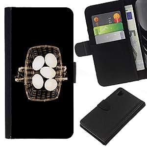 All Phone Most Case / Oferta Especial Cáscara Funda de cuero Monedero Cubierta de proteccion Caso / Wallet Case for Sony Xperia Z1 L39 // Basket Eggs