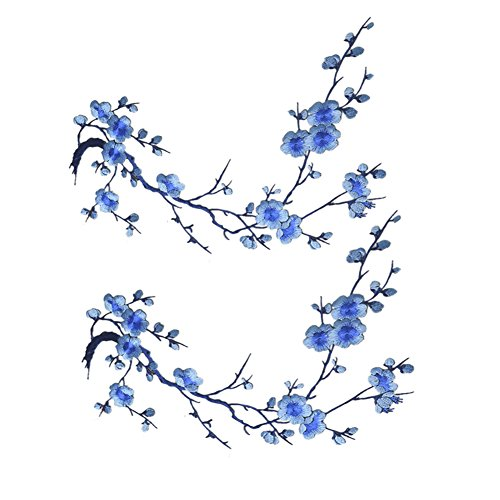 Alice Plum Blossom Flower Iron on Embroidered Applique Patch Embroidery Patches-Light Blue