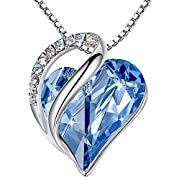 """#LightningDeal Leafael Infinity Love Heart Pendant Necklace Birthstone Crystal Jewelry Gifts for Women, Silver-tone, 18""""+2"""""""