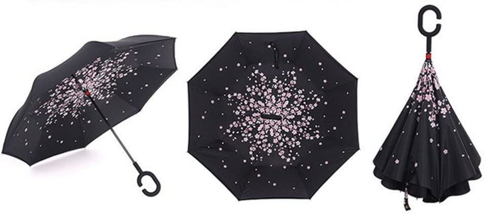 C-Shaped poign/ée Double Inverted Umbrella coupe-vent pliable ensoleill/é pluvieux amphibie Creative long parapluie Voyage inverse Parapluie NO1