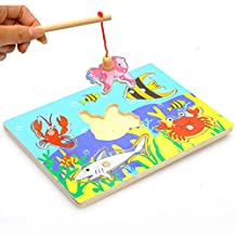 Merry Baby Wooden Magnetic Fishing Game & Jigsaw Puzzle Board 3D Jigsaw Puzzle Children Education Toy juguetes educativos