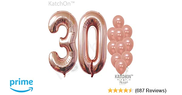 Rose Gold 30 Balloon Numbers Large Pack Of 12 Rose Gold 30th Birthday Balloons Party Decorations Supplies Foil Mylar And Latex Balloon Match For