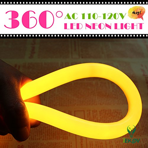[UPGRADE] 360° LED NEON LIGHT, IEKOV™ AC 110-120V Flexible 360 Degree LED Neon Strip Light, Dimmable & Waterproof NEON LED Rope Light+Remote Controller (98.4ft/30m, Golden Yellow) by IEKOV (Image #1)