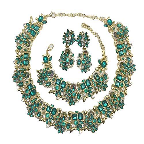 NABROJ Choker de Cristal Costume Jewelry for Women Vintage Statement Necklace Bracelet Earrings Set Green Jewelry 1 Set with Gift Box-HLN001 Green 3pcs Set