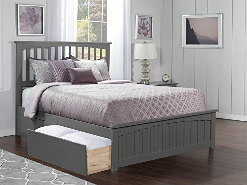 Atlantic Furniture AR8746119 Mission Platform Bed with Matching Foot Board and 2 Urban Bed Drawers, Queen, Grey