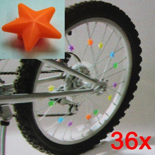 Speichenclip Sterne SET 36 Stück , versch. Farben, 36x Speichen Clips Klicker (LHS)