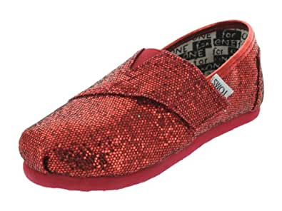 Toms Youth Classic Glitter Shoes Red, Size 11.5 M US Little Kid, EU 27