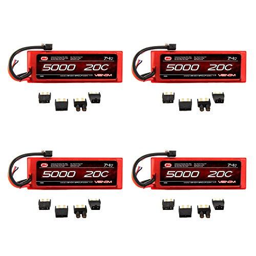 Venom 20C 2S 5000mAh 7.4V Hard Case LiPo Battery with Universal Plug (EC3/Deans/Traxxas/Tamiya) x4 Packs (20c Lipo Pack)