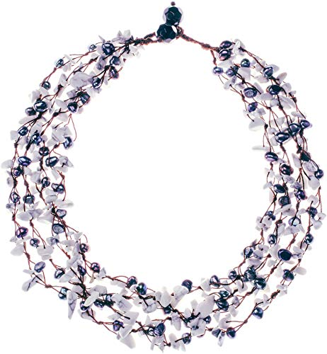 - HinsonGayle 'Zoe' 4-Strand Handwoven Howlite & Black Freshwater Cultured Pearl Necklace-20 in length
