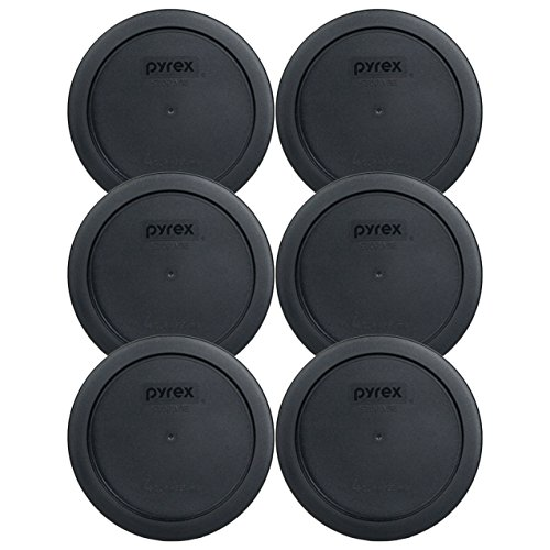 Pyrex 7201-PC 4 Cup Round Storage Cover for Glass Bowls (6, Black) (Black Round Cup)