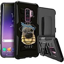 MINITURTLE Case Compatible w/Samsung Galaxy S9 Plus (SM-G965) [Dual Layer][Kickstand Feature][Bonus Clip-on Holster] Impact Resistant Hybrid Low Profile Kickstand Combo - Pug Life