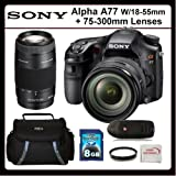 Sony Alpha A77 Kit Includes: Sony Alpha A77 Digital Camera with 18-55mm and 75-300mm Lens, 8GB SDHC Memory Card, Memory Card Reader, UV Filter, SSE Microfiber Cleaning Cloth and Soft Carrying Case, Best Gadgets