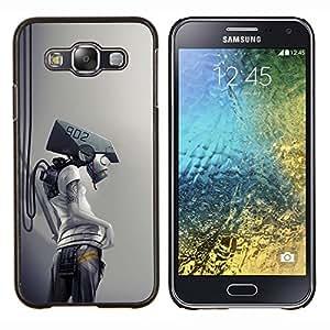 Qstar Arte & diseño plástico duro Fundas Cover Cubre Hard Case Cover para Samsung Galaxy E5 E500 (Robot Cyborg)
