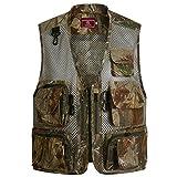 Ziker Men's Mesh Breathable Openwork Camouflage Journalist Photographer Hunting Vest Waistcoat Jacket Coat (Brown, Large)