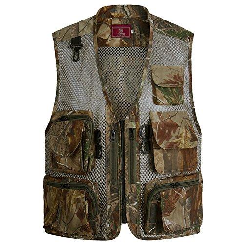 Ziker Men's Mesh Breathable Openwork Camouflage Journalist Photographer Hunting Vest Waistcoat Jacket Coat (Brown, XX-Large)