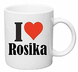 """taza para café """"I Love Rosika"""" Cerámica Altura 9.5 cm diámetro de 8 cm de Blanco"""