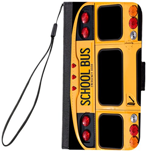 Rikki Knight Premium PU Wallet Flip Case with Kickstand and Magnetic Flap for iPhone 7 Plus - Back of A Yellow School Bus Design