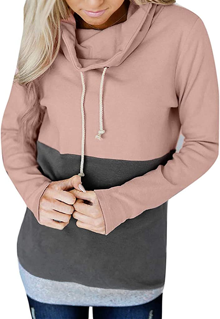 Eoeth Fashion Women Casual Color Block Long Sleeve Sweatshirt Jumper Drawstring Hooded Pullover Blouse Tops Hoodie Shirts