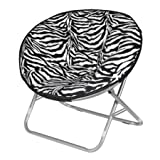 LOVE US Fancy Faux-Fur Foldable Saucer Chair with Steel Frame, 100 percent polyester upholstery, Easy to Spot Clean, Great for Lounging in Any Room, Zebra + Expert Home Guide