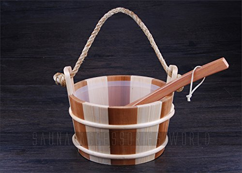 Handcraft Sauna Water Pail Bucket and Ladle Set with Liner For Dry Sauna Accessories