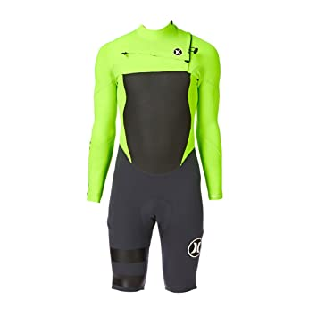 9cd5b87d75 Hurley Fusion 2mm Chest Zip Long Sleeve Shorty Wetsuit - Flash Lime ...