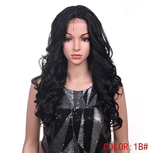 Hair Hand Tied Long Loose Wavy Hair 24 Inch Blonde Grey Color Wigs High Density Heat Resistant Synthetic Lace Front Wigs,1B,150%,Lace -