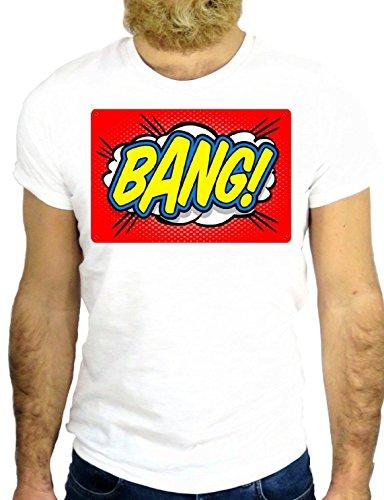 T SHIRT JODE Z2127 BANG POP LOGO COMICS AMERICA FUNNY COOL FASHION GGG24 BIANCA - WHITE S