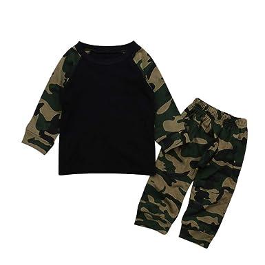 Rawdah_Conjunto Bebe NiñO Invierno Blusas Bebe NiñO Sudaderas Bebe NiñO ReciéN Nacido Bebé NiñO Ropa Camuflaje Camiseta Tops + Pants Outfits 2pcs Set: ...