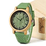 BOBO BIRD Unisex Japan Analog Quartz Mens Womens Wood Watch Green Dial Silicone Band with Green Secondhand Pointer